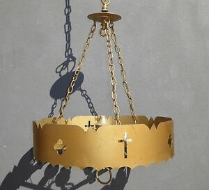 Vintage Gothic Revival Gold Metal Hanging Ceiling Light Lamp Mid Century Modern