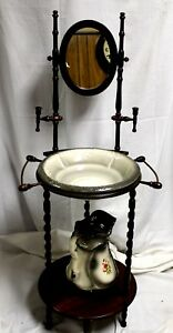 Vintage American Jacobean Revival Cherry Wash Stand With Mirror Pitcher
