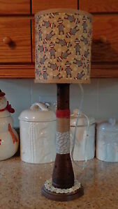 Folk Art Sock Monkey Table Lamp Night Light Primitive Beehive Textile Spool