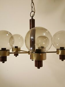 Mid Century Modern Chandelier Ceiling Lamp 5 Round Smoked Glass Shades