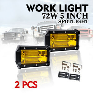 5 72w Led Work Light Bar Spot Beam Fog Driving Lamps Offoad Suv 4wd 3000k Amber