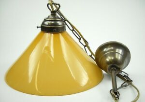 Suspended Chandelier Chain Brass With Glass Opaline Yellow Ocra 7 1 2in E27