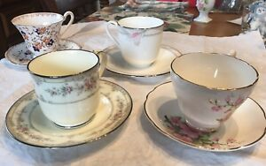 Lot Of 4 Mismatched Vintage China Teacups Tea Cups And Saucers