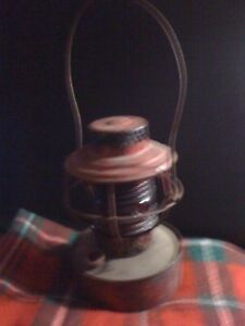 Old Nautical Ships Lamp Light Ribbed Clear Glass Red