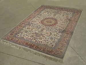 Vintage Ornate Floral Design Hand Knotted Persian Area Rug 70 X 51
