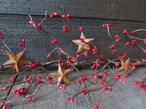 Lot Of 2 Primitive Country Red Pip Berry Garland 5 5 Feet 66 Ea W Rusty Stars