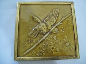 Antique Hamilton Tile Works Relief Bird On A Branch 1883 1901 Signed Rare