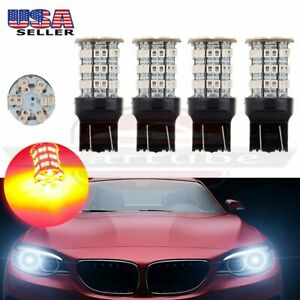 4x 7443 7440 Cree Led 60 Smd Red Reverse Backup Bulb Light 40w 4000lm