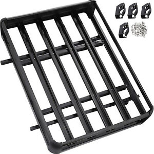 Universal 63 X 40 Black Aluminum Roof Top Rack Basket Luggage Cargo Carrier