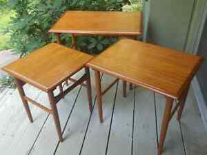 Trio Nesting Teak Table Set Danish 1960s Mid Century Modern Hans Wegner Attrib