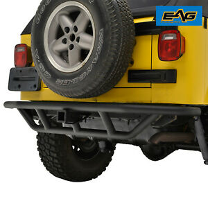 Black Rear Bumper W 2 Hitch Receiver Tubular Fit For 87 06 Jeep Wrangler Yj Tj