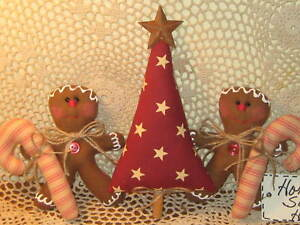 Primitive Country Christmas Fabric Tree Gingerbread Candy Canes Home Decor