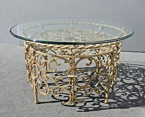 Vintage Spanish Style Round Gold Wrought Iron Glass Top Coffee Table