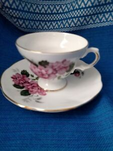 Vintage Royal Dover Bone China Footed Tea Cup Saucer W Pink Flowers