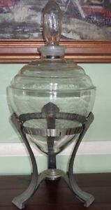 Vintage Art Deco Show Globe Drug Store Pharmacy Display Jar Bottle Apothecary