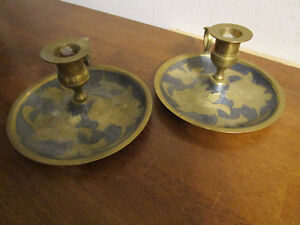 Pair Of Vintage Etched Brass Chamber Stick Candle Holder With Finger Handle