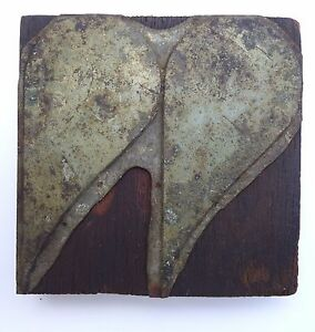 Israel Vintage Letterpress Printers Block Hearts Metal On Wood Stamp Type