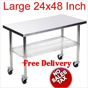 Large Commercial Kitchen Restaurant Stainless Steel Work Table Wheels Rolling