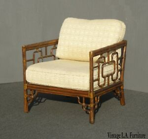 Vintage Mcguire Chinese Chippendale Bamboo Accent Arm Chair W Leather Bindings