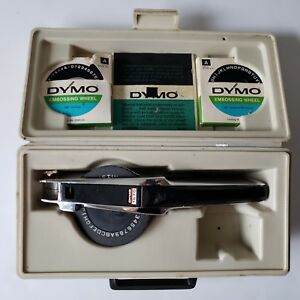 Dymo 1570 Label Maker Vintage Chrome Black Carrying Case Extra Embossing Wheels