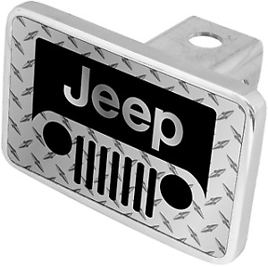 Jeep Grill Steel Design Premium Xl Polish Hitch Cover Tow Plug Official Licensed