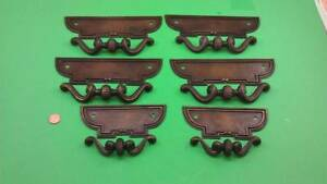 4 Large And 2 Small Antique Vintage Bronze Casted Heavy Dresser Drawer Handles