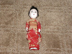 Antique Japanese Gofun Geisha Type Doll Kimono Oriental
