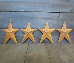 Lot Of 4 Rusty Whimsical Tin Barn Stars 8 Inches Primitive Country Rusted Metal