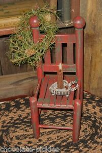 Farmhouse Red Wood Doll Teddy Bear Chair Candle Holder Primitive Country Decor