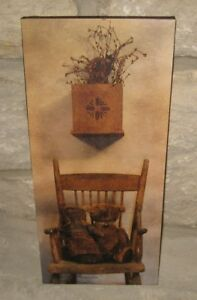 Friends Doll Teddy Bear Canvas Picture Primitive French Country Farmhouse Decor