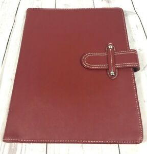 Franklin Covey Aurora Organizer Binder Planner Red Leather No Rings White Piping