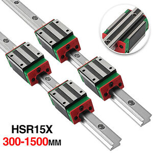 2x Hgh15 Linear Guideway Rail Shaft Rod 300 1500 With 4pcs Hgh15ca Block Be