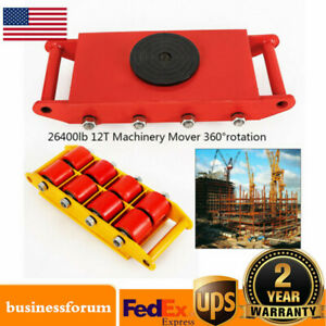 12ton Heavy Duty Machine Dolly Skate 8 rollers Machinery Mover 360 Rotation Usa