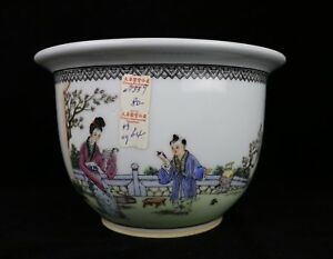 Hand Painted Vintage Chinese Porcelain Famille Rose Planter Flower Pot