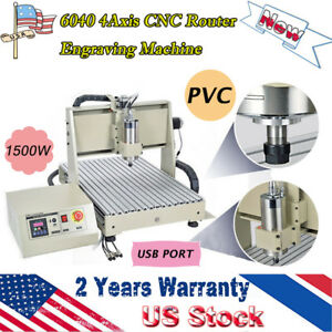 Hot 4axis Cnc 6040t Router Engraving Machine 1 5kw Drilling Milling Usb Pvc Wood