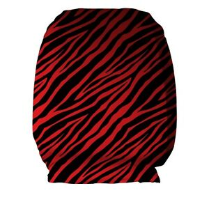 Black Red Zebra Print Design Car Seat Head Rest Covers Pack Of Two Accessory