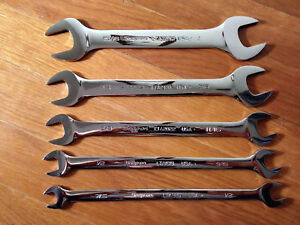 Snap On 5pc Sae 15 Offset Low Torque Slimline Open End Wrench Set 7 16 1