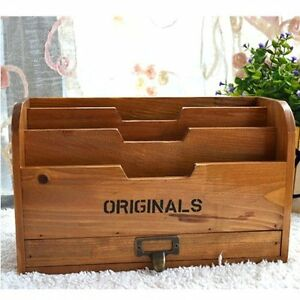 Chris wang 1pk Originals Retro Wooden Stacking Letter Tray postcards Mail Sorter