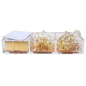 Clarity Gold Notes Holder With Cube Memo Pad 320 Sheets Acrylic In 1 Drawer By