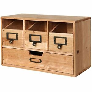 Rustic Brown Wood Desktop Office Organizer Drawers Craft Supplies Storage