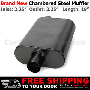 Aluminized Steel Chamber Muffler 2 25 Inch Offset In Center Out Black Universal