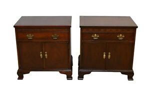 Baker Pair Mahogany Banded Bedside Tables Nightstands