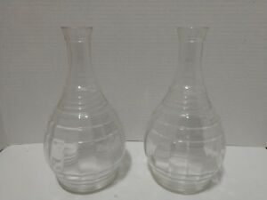 Pair Of Antique Vases Clear Glass Flower Vases Cottage Decor