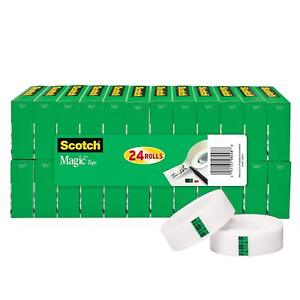 Scotch Magic Tape Standard Width Versatile 3 4 X 1000 Inches Boxed 24 Rolls