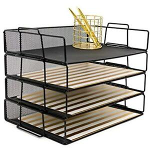 Stackable Paper Tray Desk Organizer 4 Tier Letter Black Metal Mesh Document