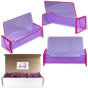 Hq Acrylic Plastic Business Name Card Holder Display Stand clear Purple
