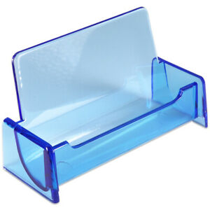 1pc Hq Acrylic Plastic Business Name Card Holder Display Stand clear Blue