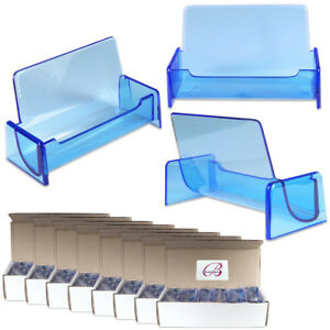 100pc Hq Acrylic Plastic Business Name Card Holder Display Stand clear Blue