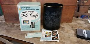 Vintage Tole Craft Trash Can Paint By Number Seven Seas Poseidon