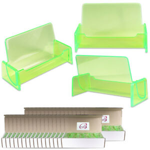 500pc Hq Acrylic Plastic Business Name Card Holder Display Stand clear Green